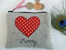 Handmade Personalised Heart Coin Purse choice of wording Red polka dot & Grey