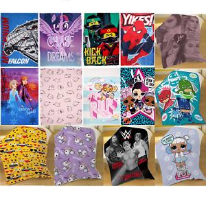 Kids Boys Girls Official Novelty Character Super Soft Fleece Bed Blanket Throw