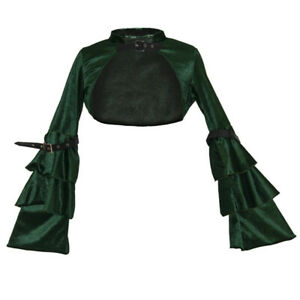 Alacki Long Sleeve Retro Gothic Bolero Shrug Jacket Velvet Steampunk Cropped