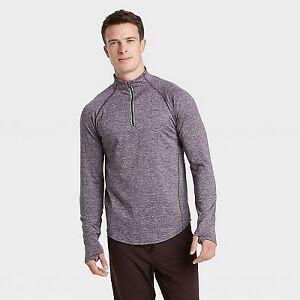 Men's Premium Layering Quarter Zip Pullover - All in Motion Navy Blue/ Purple
