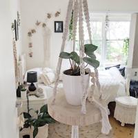 Macrame Plant Hanger Shelf - Handmade - 30cm Wooden Slab