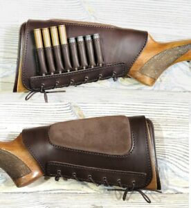 ButtStock Cover 8 Units Rifle Ammo Holder Cheek Rest Padded - Genuine Leather
