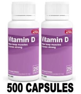 VITAMIN D D3 1000IU 500 CAPSULES (PHARMACY Action Twin Pack) *OSTELIN Generic*