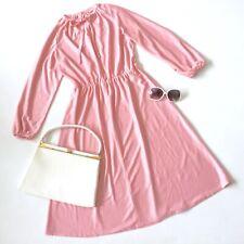True vtg 70s PINK DRESS 10 retro tie neck indie secretary geek granny hipster