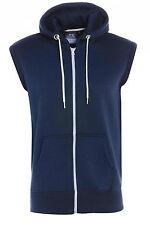 New Men's Boys Plain Zipper Fleece Sleeveless Hoodies Sweatshirt Gilet Hoodie