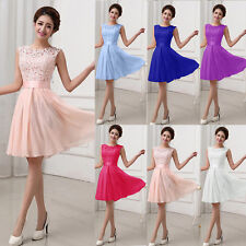 Womens Lace Cocktail Party Evening Prom Gown Bridesmaid Formal Short Mini Dress