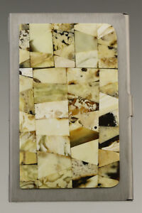 Genuine White BALTIC AMBER Mosaic Credit/Business Card CASE Holder 181002-5