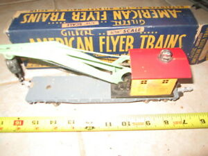 S Scale American Flyer 635 Wrecker Crane Car in tattered box.