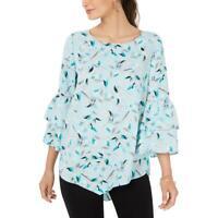Alfani Womens Blue Floral Long Tunic Blouse Top L BHFO 9463
