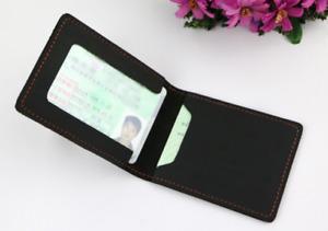 driver's license certificate card cow Leather bag holder handmade black z903