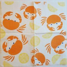 Two (2) Paper Napkins for Decoupage Crafts - Crabs Lemons Food
