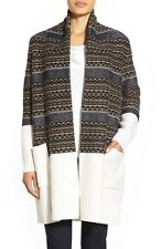NEW Nordstrom Collection Fair Isle Long Wool & Cashmere Cardigan XL