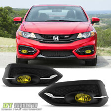 For 2014-2015 Honda Civic 2dr Coupe Yellow Fog Lights Bumper Lamps w/Switch+Bulb