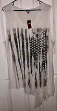 New Nwt Avenue White Patriotic American Flag Fringed Sleeveless Shirt Size 22/24