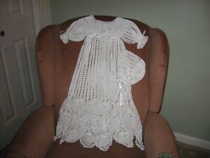 New Handmade Crocheted White Christening Gown with Bonnet