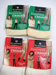 4 Pair No Nonsense Womens Socks Business Casual Compression, Trouser, Rib Crew