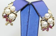 GORGEOUS 14K YELLOW GOLD EARRINGS WITH PEARLS, RUBIES AND DIAMONDS #P24