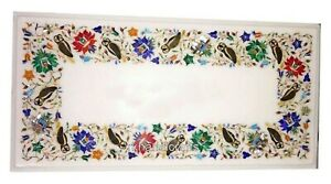 15 x 30 Inches Marble Coffee Table Top Handmade Corner Table Inlay Art at Border