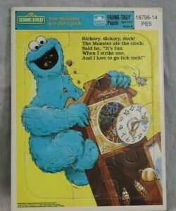Sesame Street Cookie Monster The Monster Ate The Clock Frame Tray Puzzle