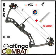 NEW Right Hand Black 15-60lb Compound Bow and Arrow Deluxe Archery Hunting REX