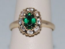 10k Gold ring with Emerald(May birthstone) and CZ Diamonds in Flower pattern