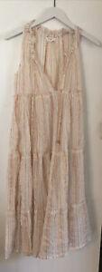World Market Women's Boho Maxi Dress Size S/M Sleeveless Light Airy Cream Peach