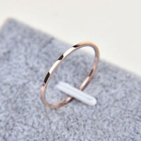 Ladies Mens 2mm Gold or Rose Gold Tone Stainless Steel Wedding Band Ring Sz 3-10