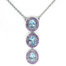 Sterling Silver 925 Genuine Natural Sky Blue Topaz & Amethyst Necklace 18.25 In