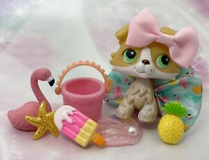 Authentic Littlest Pet Shop # 272 Blonde Yellow White Collie Green Eyes Rare