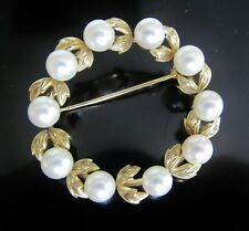 14K Gold White Cultured Pearl Diamond Cut Leaves Circlet Circle Wreath Brooch 8g