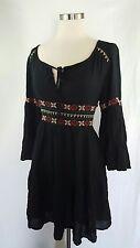 American Eagle Boho Embroidered Bell Sleeve Peasant Tunic Dress Black M