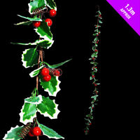 3 x Natural Christmas Garland Decoration Holly & Red berries each 130cm long