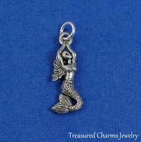 Silver Mermaid Charm - Ocean Nautical Pendant Jewelry NEW