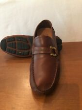 Pre Owned Salvatore Ferragamo Front Radica Brown Leather Loafers 9.5EE