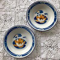 VTG BUMPER HARVEST Enamelware Dessert Plates Blue White Enamel Lily 16 cm Plate