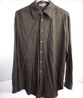 Giorgio Armani Le Collezioni Mens Grey Button Down Shirt Sz Medium 33/34 Sleeve
