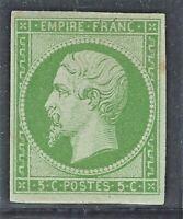 n°12 timbre classique Napoléon non dentelé 5c Vert Neuf * TB - Signé A.Brun