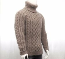 Hand Knit MOHAR WOOL Mens Sweater Turtleneck SOFT fuzzy cable LONG Jumper THICK