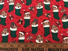 """Cotton Quilt Fabric Christmas Puppy Stocking Red Green 17"""" x 44"""""""