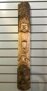 Thai Buddha Man Of The Woods 100cm Hand Carved Wizard Tree Trunk Wood Fairtrade