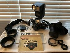 Pentax ME Super 35mm SLR Film Camera w/ SMC Pentax-M 50 mm 1:2 Manual Case Strap
