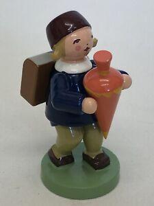 Vintage Wooden Figurine 1st Day At School Girl With Present Bag By Wendt & Kühn