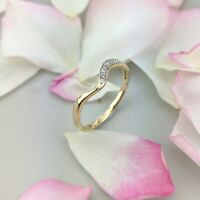 9K (REAL) Yellow Gold 0.02CT T.W. Natural Diamond Fashion Band Ring in Size O