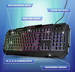 Bugha Exclusive Backlit RGB LED Gaming Keyboard with Function Keys for PC