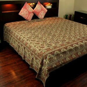 Hand Block Print Floral Tapestry Paisley Elephant Cotton Bedspread Red Twin