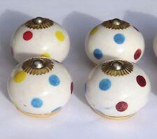 porcelana cerámica Tira de botones blanco redondo multicolor topos (latón) x 4