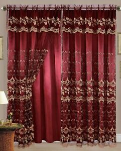 Aliya Embroidered Panel with Attached Valance and Backing, 55x84 Inches, 2-Panel