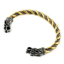 Viking Odin's Wolves Gold Trim Bracelet Stainless Steel Norse Arm Ring