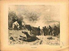 Duel d'Artillerie Armée Française Chevaux Blessés  Bourgonnier Peintre 1915 WWI