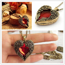 Retro Style Necklace Pendant Angel Wing Rhinestone Chain Red Heart Shape L1Y